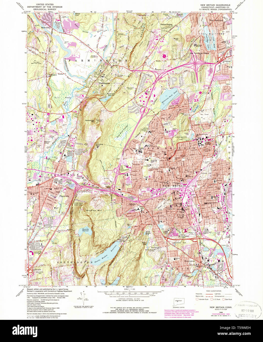 USGS TOPO Map Connecticut CT New Britain 330702 1966 24000 ... Dss Ct Map on