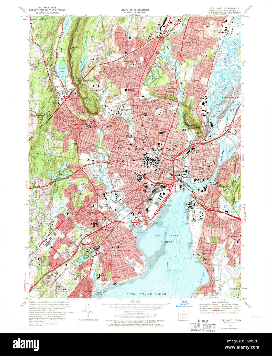 USGS TOPO Map Connecticut CT New Haven 330721 1967 24000 Restoration Dss Ct Map on