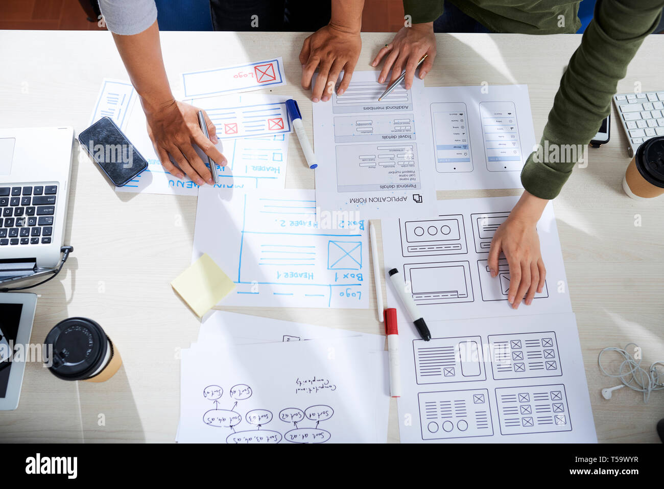 Brainstorming about ux design - Stock Image