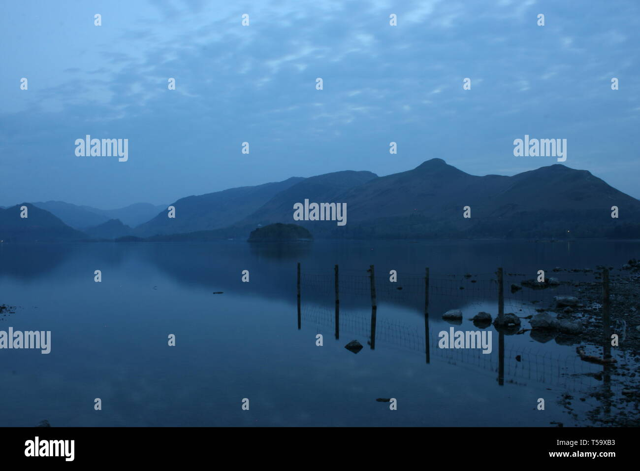 Catbells and Derwent Water Evening - Stock Image