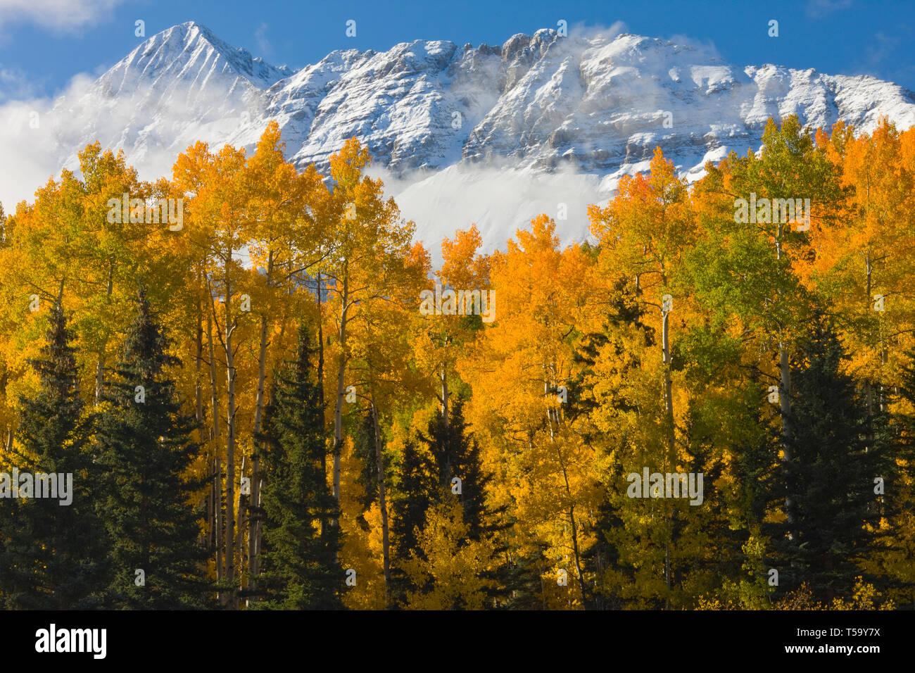 Wilson Peak dusted in snow near Telluride Colorado - Stock Image