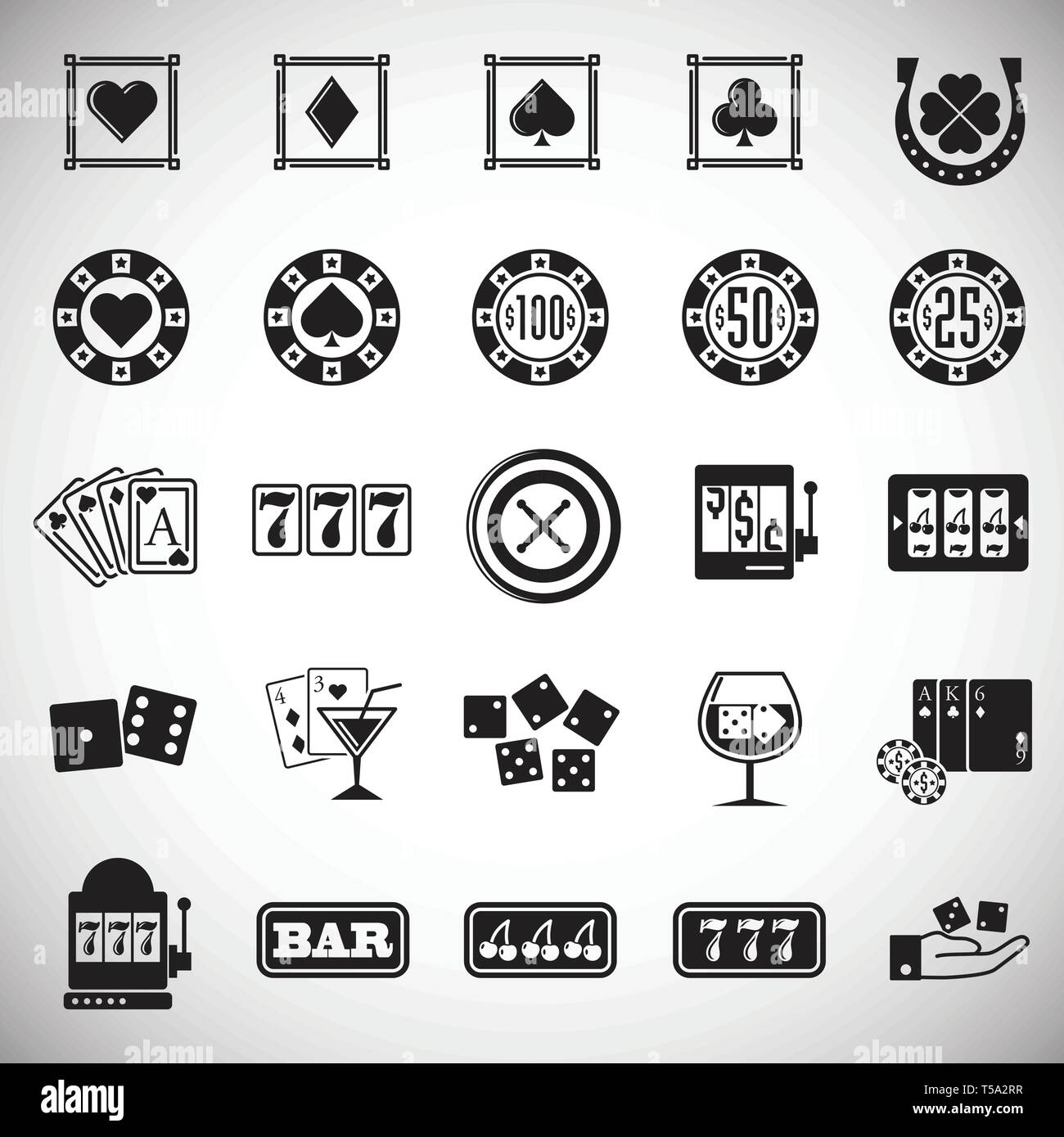 Casino Icons Set On White Background For Graphic And Web Design Simple Vector Sign Internet Concept Symbol For Website Button Or Mobile App Stock Vector Image Art Alamy
