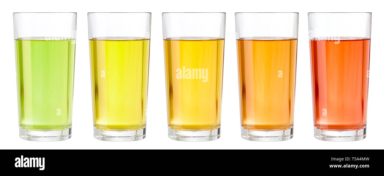 set of various juice in glasses isolated on white - Stock Image