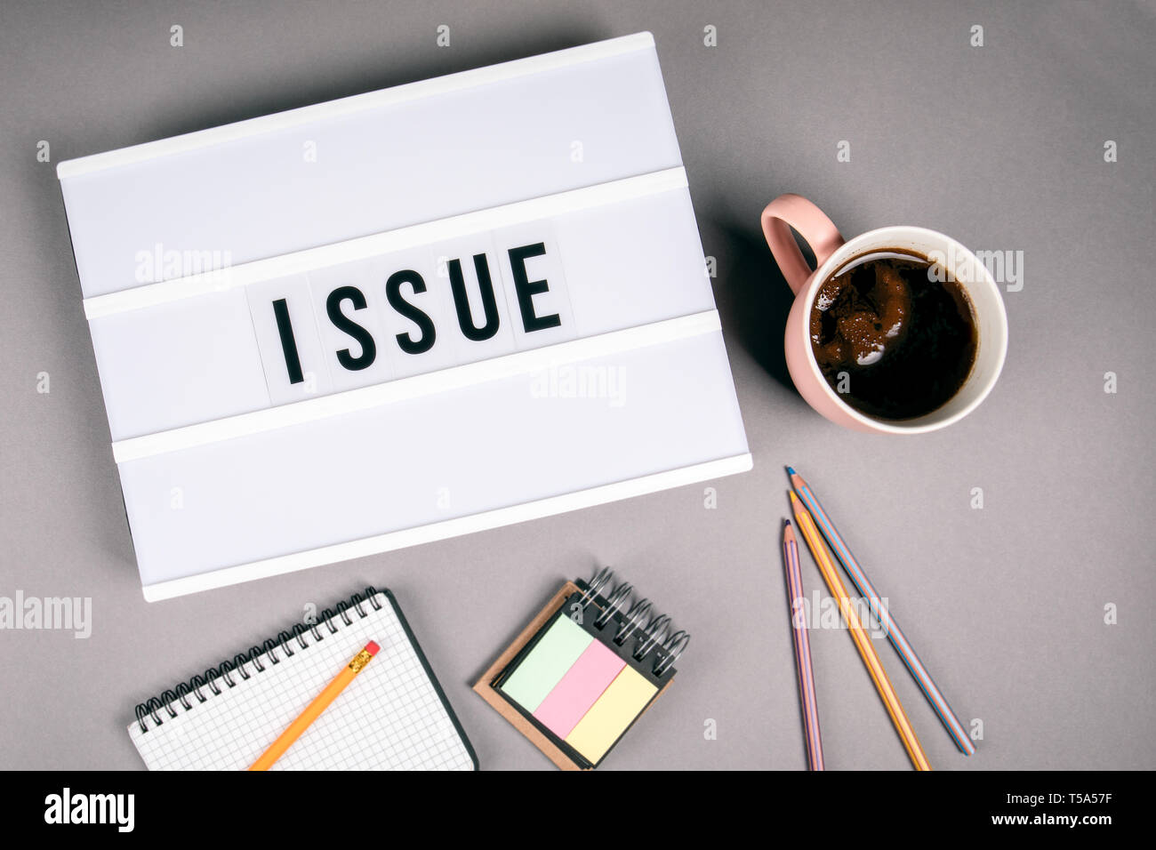 Issue. Text in light box - Stock Image