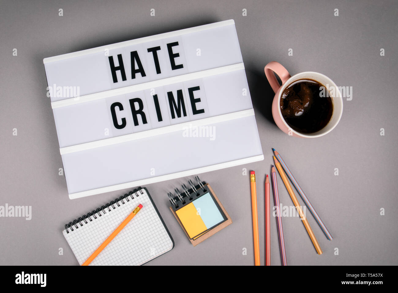 Hate Crime. Text in light box - Stock Image