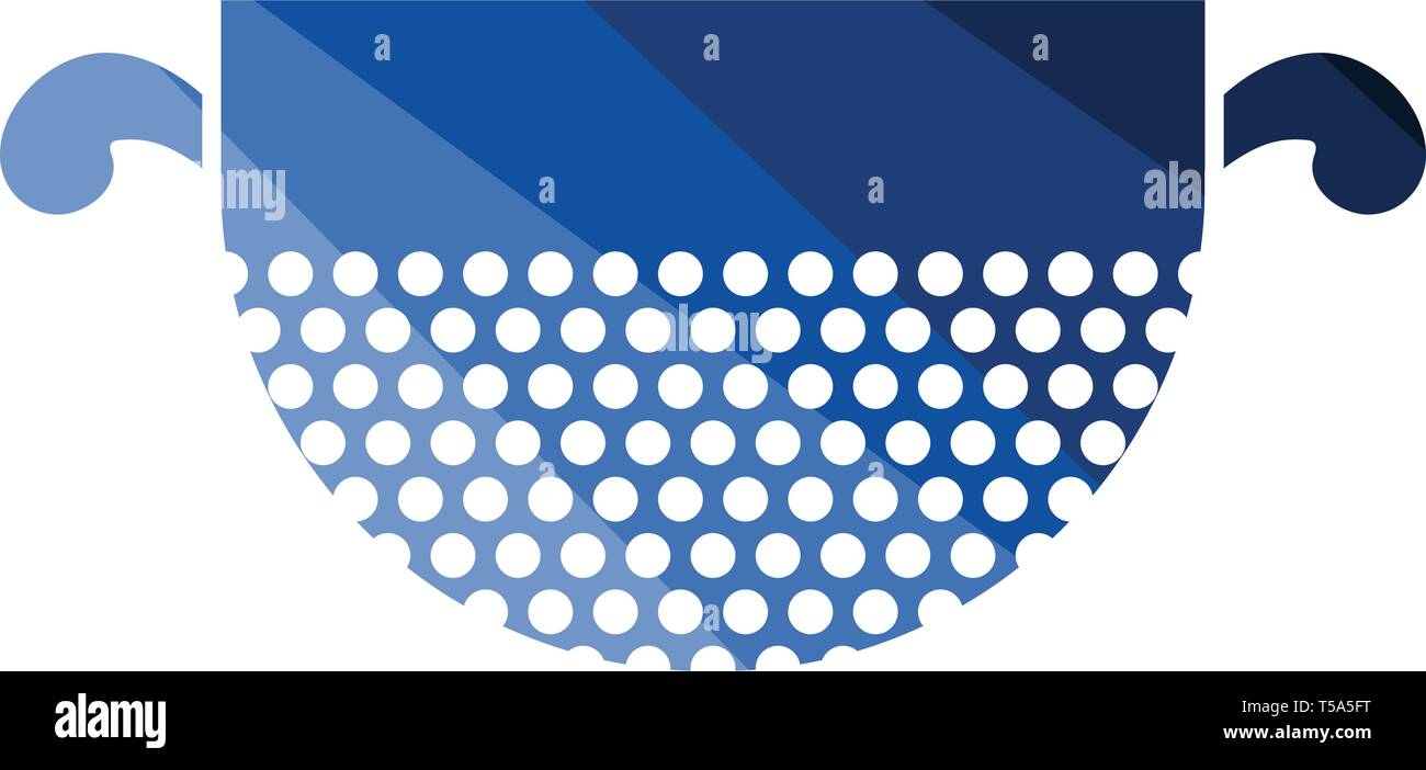 Kitchen colander icon. Flat color design. Vector illustration. - Stock Image