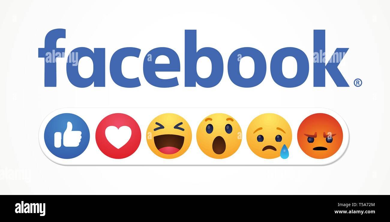 Baku. Azerbaijan - April 23. 2019 Facebook new like reactions buttons - Stock Vector