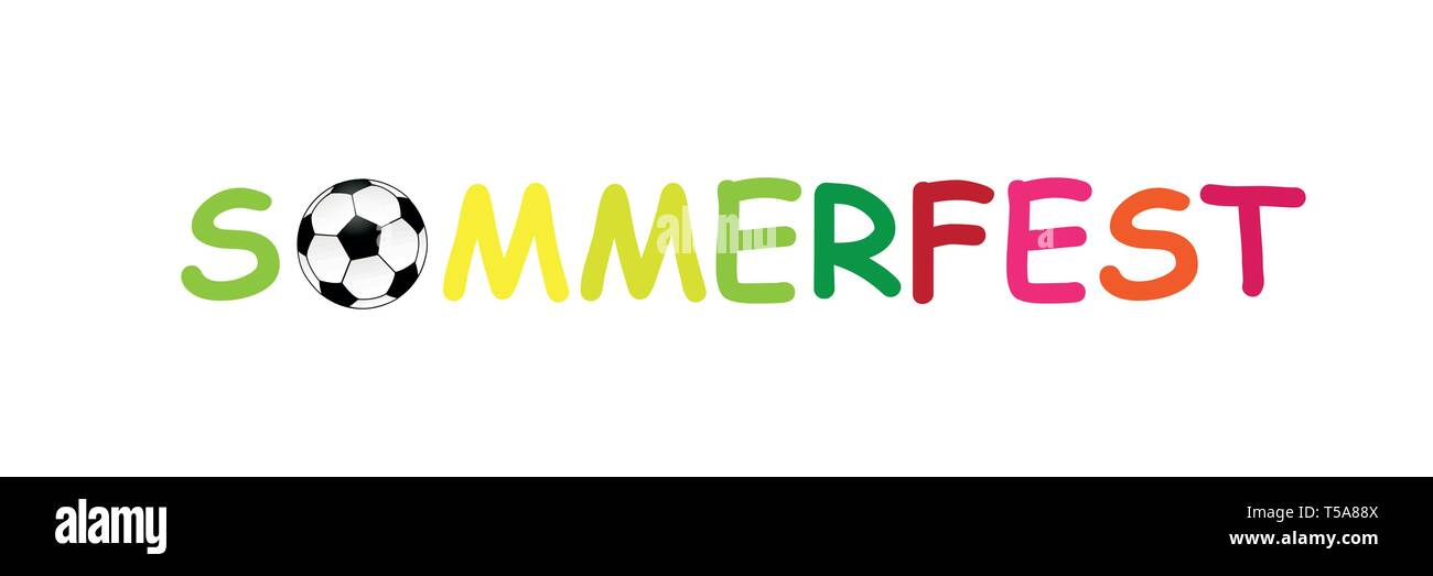 colorful german text summer fair with football vector illustration - Stock Image