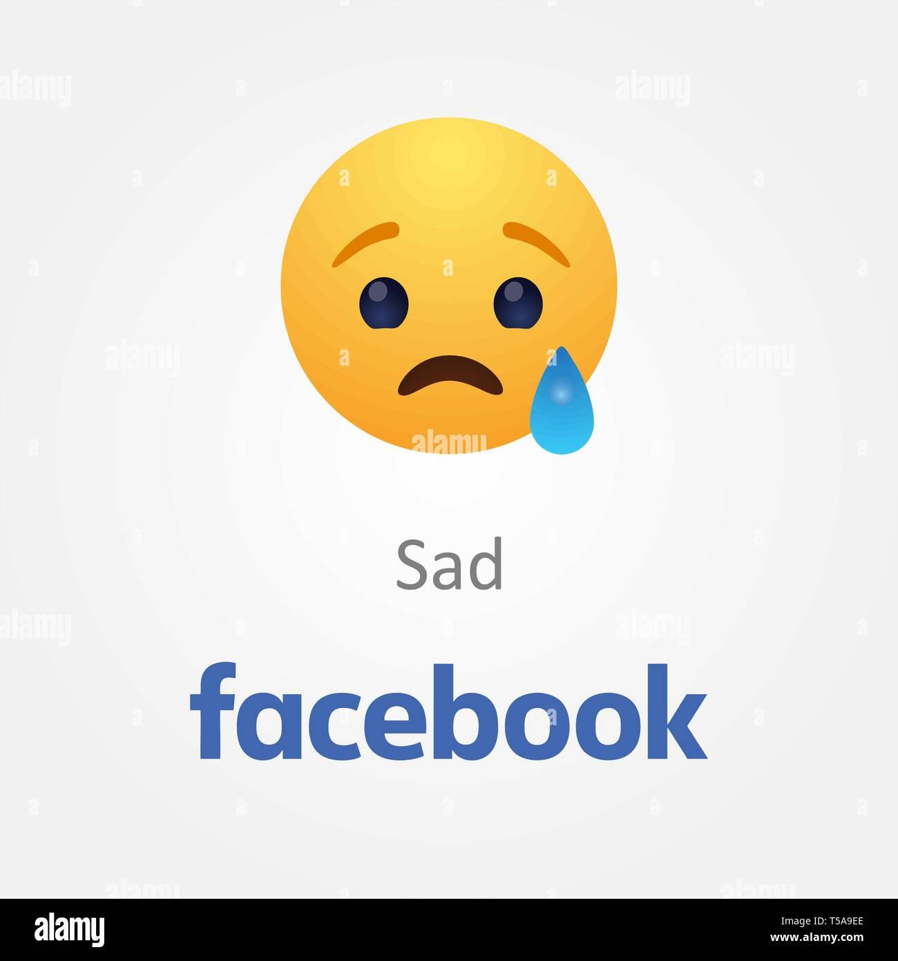 Baku, Azerbaijan - April 14, 2017 Facebook new like button Emoji - Stock Vector