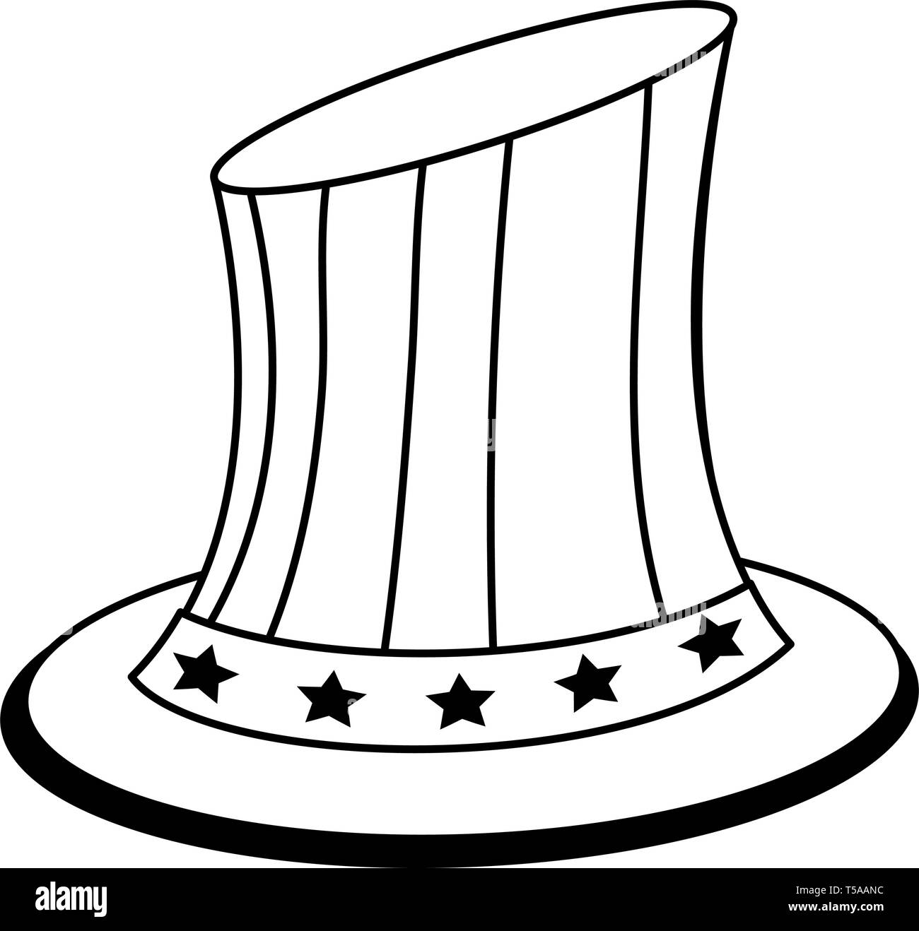 Uncle sam united states hat patriotic isolated in black and white - Stock Image