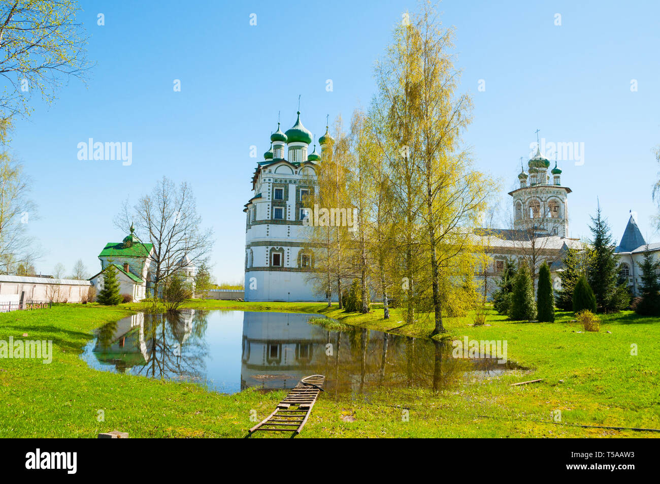 Veliky Novgorod, Russia. Church of St John the Evangelist with the refectory church of the Ascension in Nicholas Vyazhischsky stauropegic monastery -  - Stock Image
