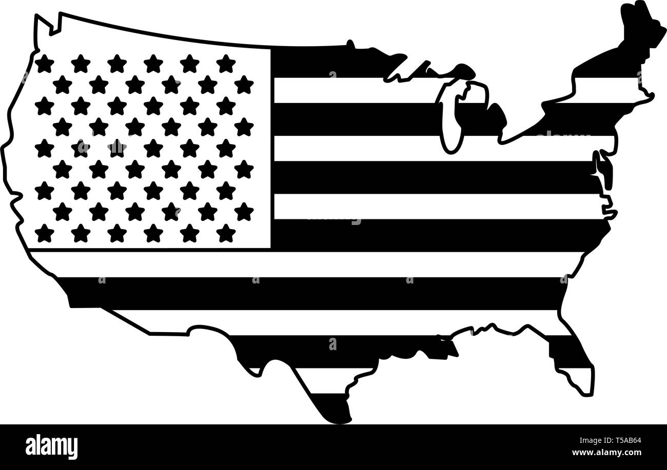 United states map outline patriotic isolated in black and white - Stock Image