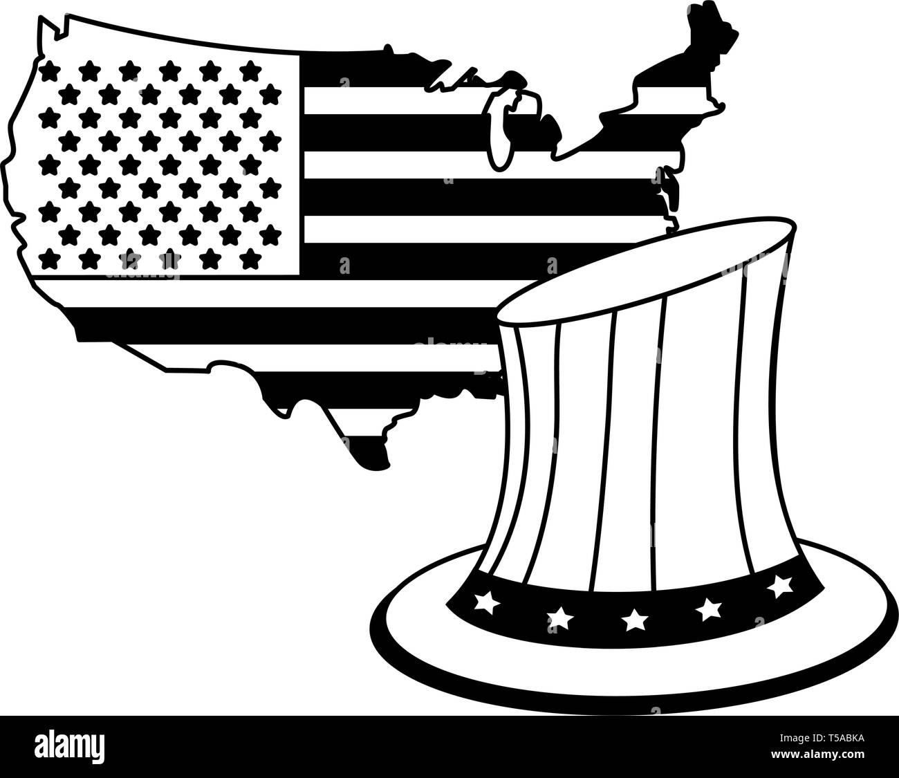 United States Map Outline with hat patriotic in black and white - Stock Image