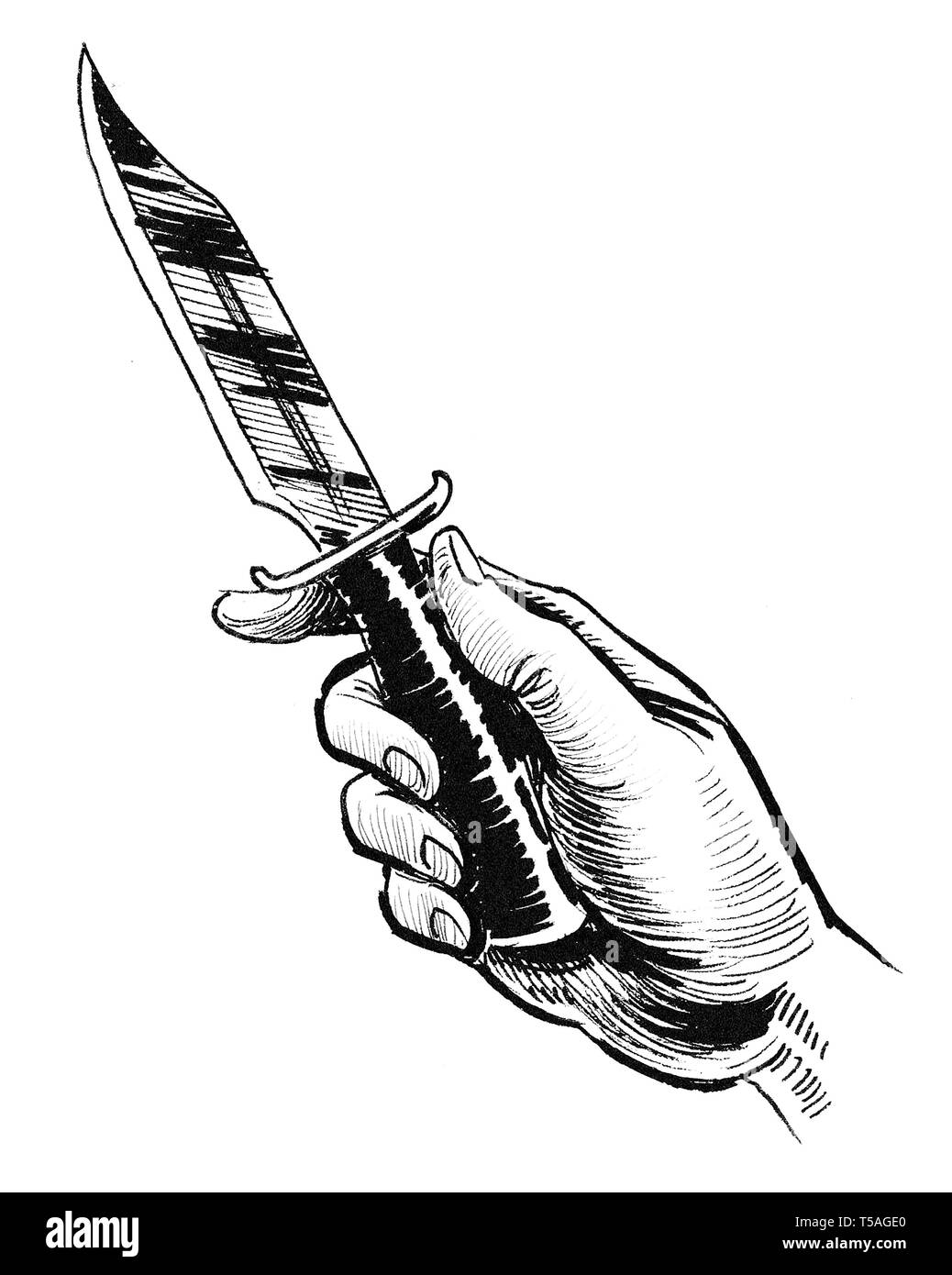 Hand holding a knife. Ink black and white drawing Stock Photo
