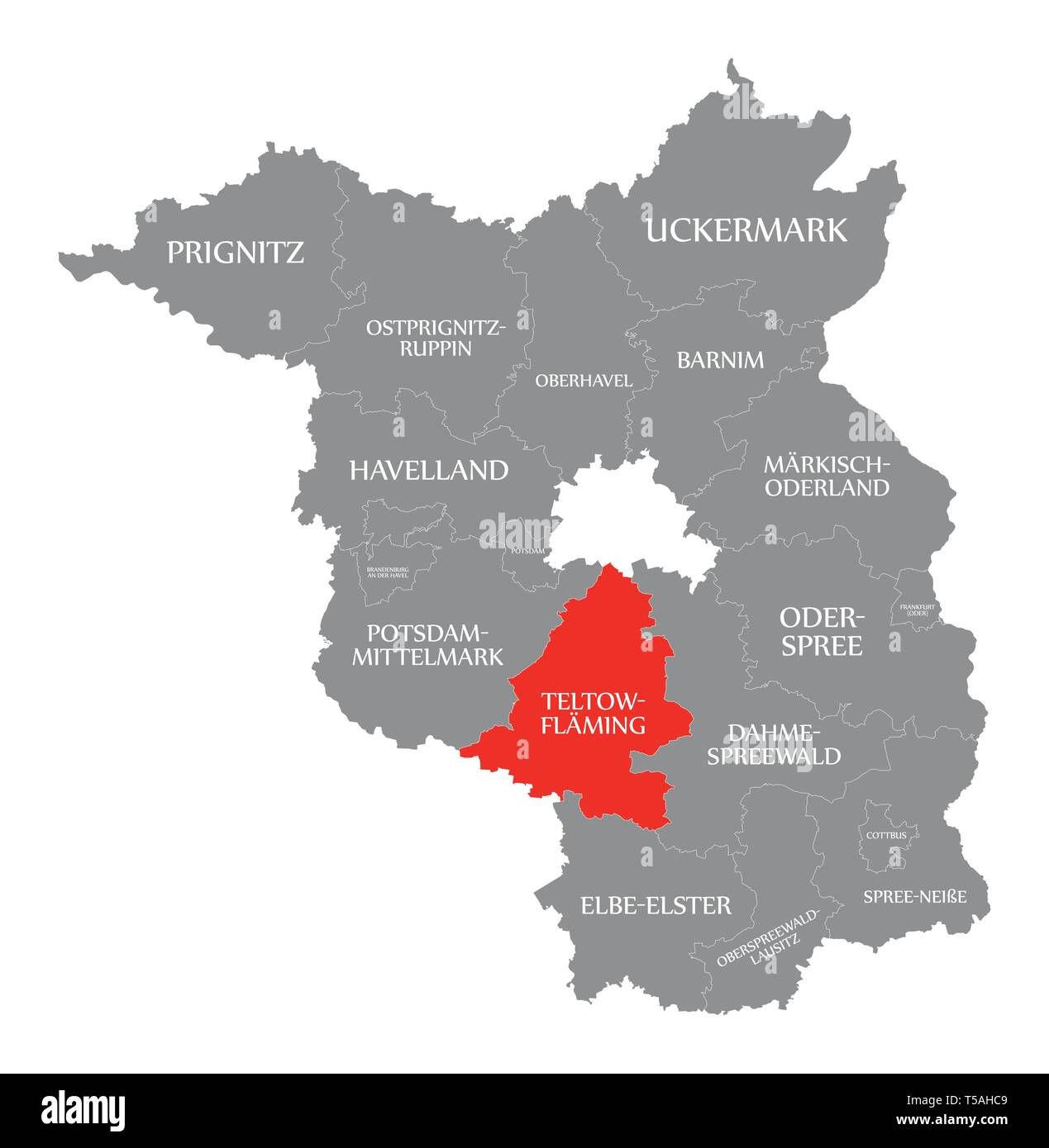 Teltow-Flaeming county red highlighted in map of Brandenburg Germany - Stock Image