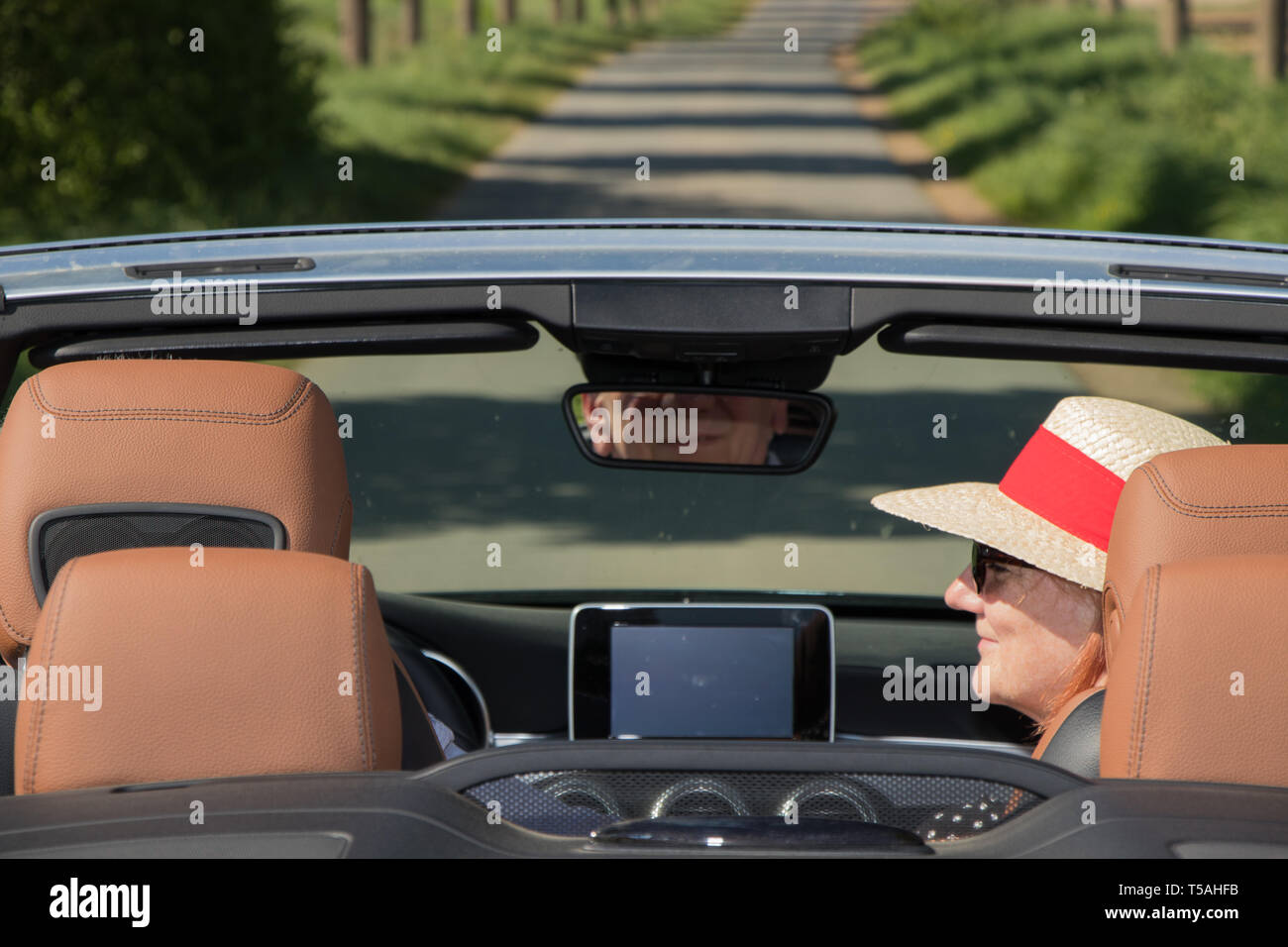 Happy senior couple with a luxury convertible car Stock Photo