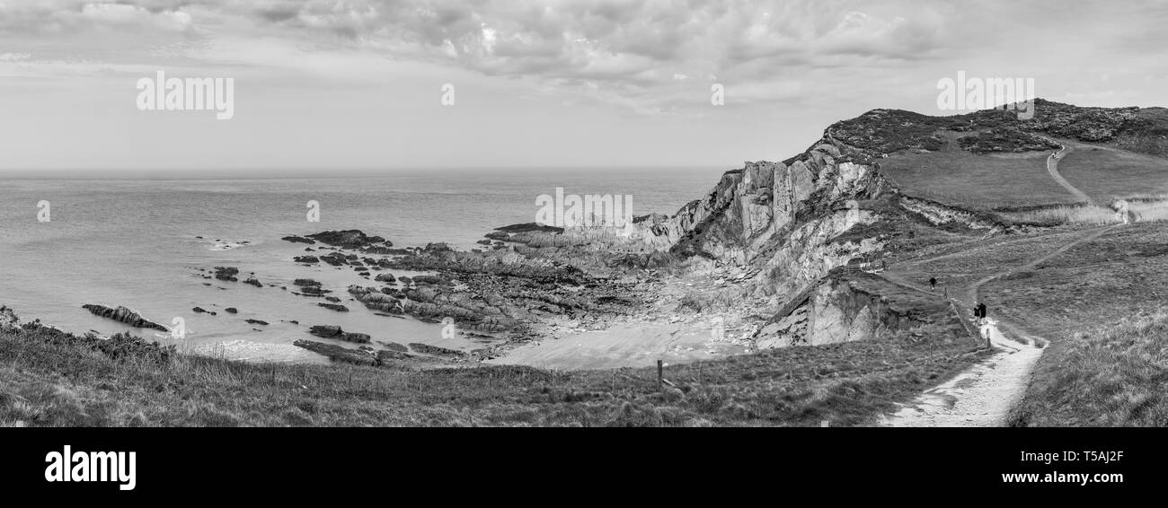 Secluded Rockham Beach at North Morte, Woolacombe, Devon - Stock Image