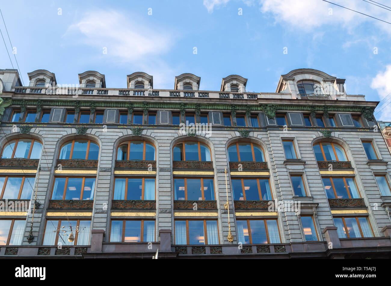 St Petersburg, Russia-October 3, 2016. Singer -Zinger- House on Nevsky Prospect in the historic center of Saint Petersburg, Russia. Also widely known  Stock Photo