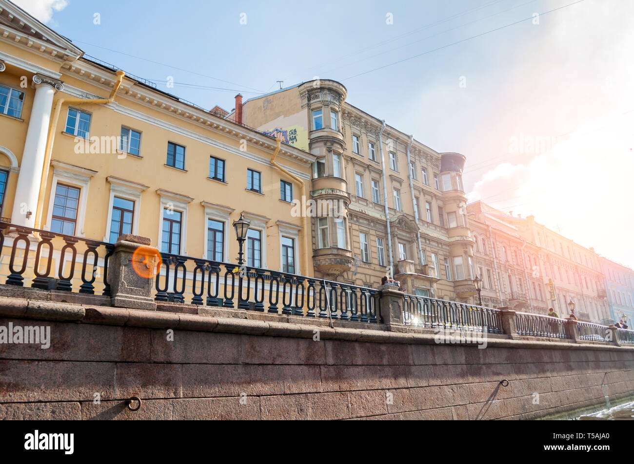 St Petersburg, Russia - October 3, 2016. Historic buildings along Griboyedov channel embankment. In the center - profitable house built in 1823 by the Stock Photo