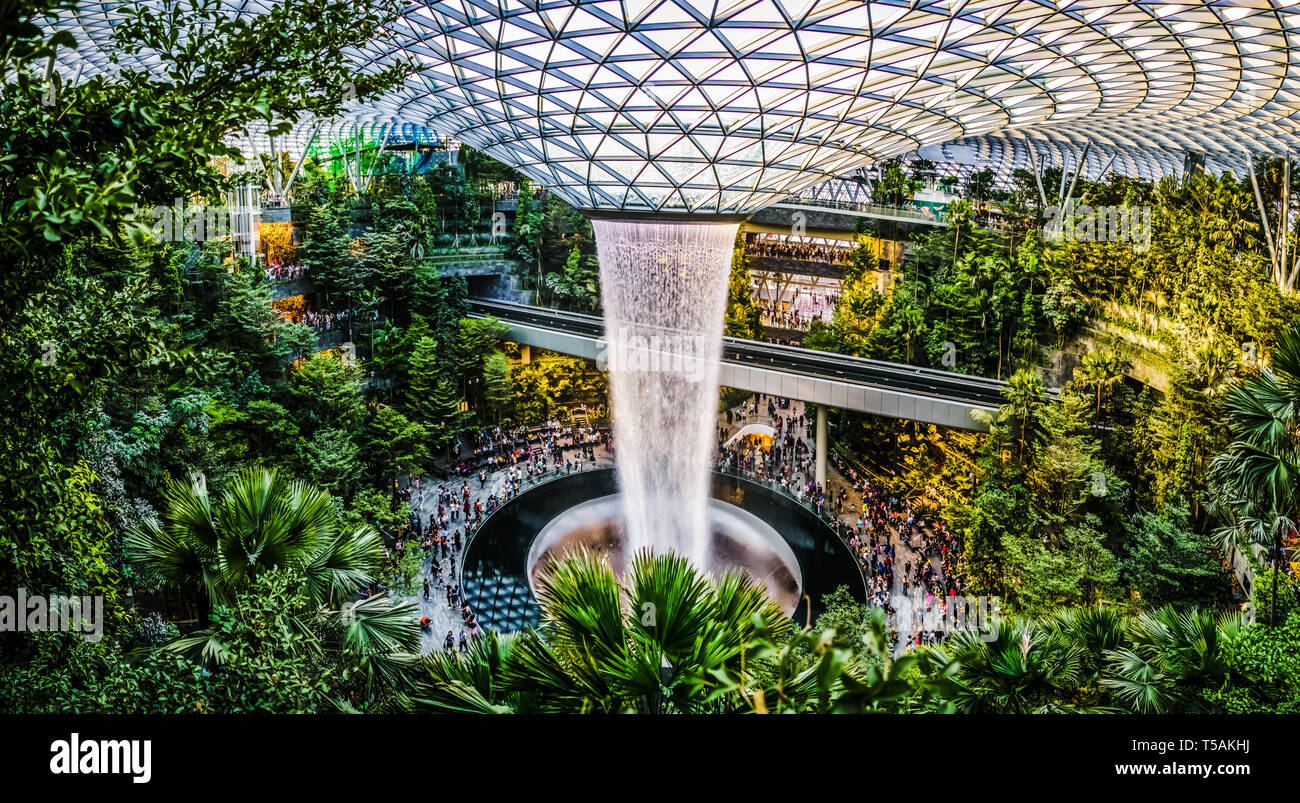 Singapore - Apr 16, 2019: Jewel Changi Airport is a mixed-use development at Changi Airport in Singapore that opened on 17 April 2019. - Stock Image