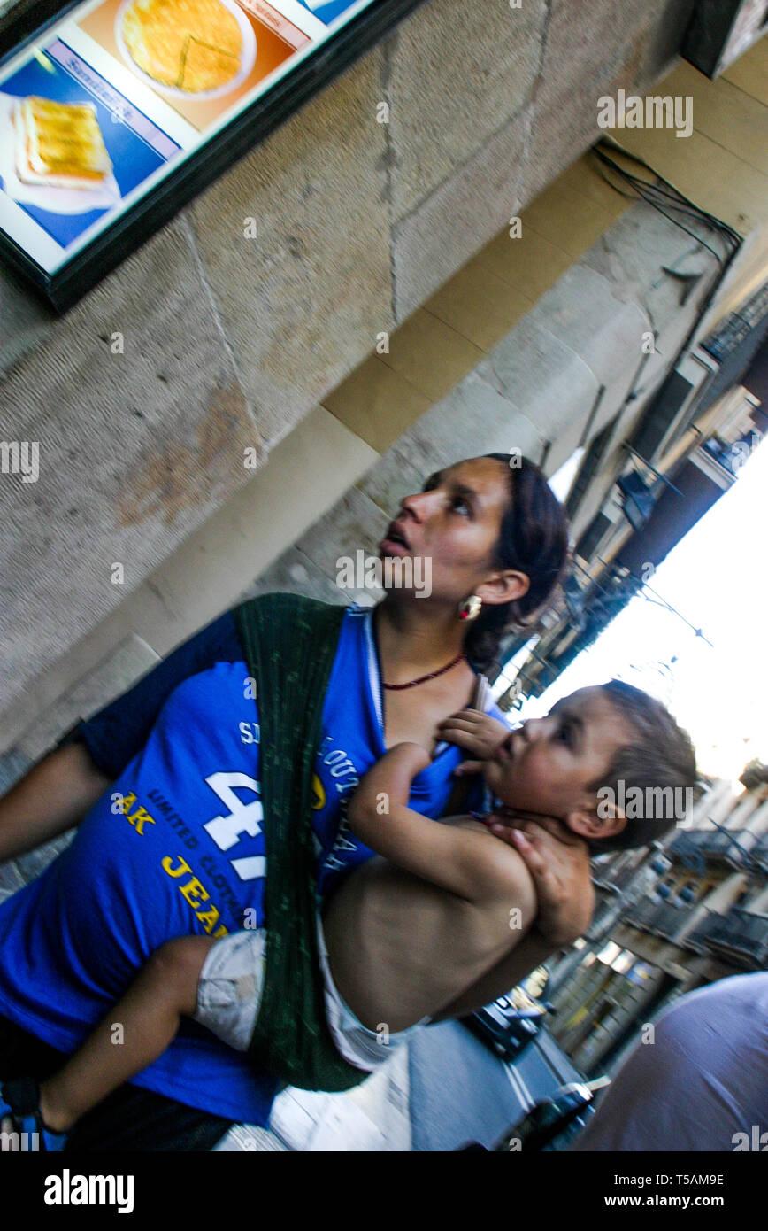 Gipsy Beggar, Barcelona, Catalonia, Spain Stock Photo