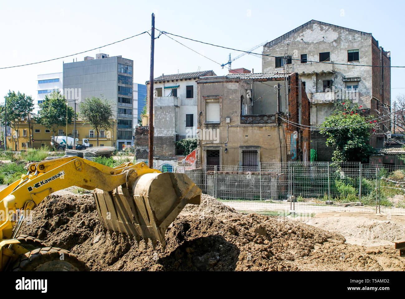 Construction works, Diagonal del Mar area, Barcelone, Catalonia, Spain Stock Photo