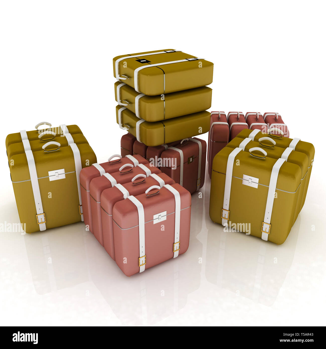 travel bags on white - Stock Image