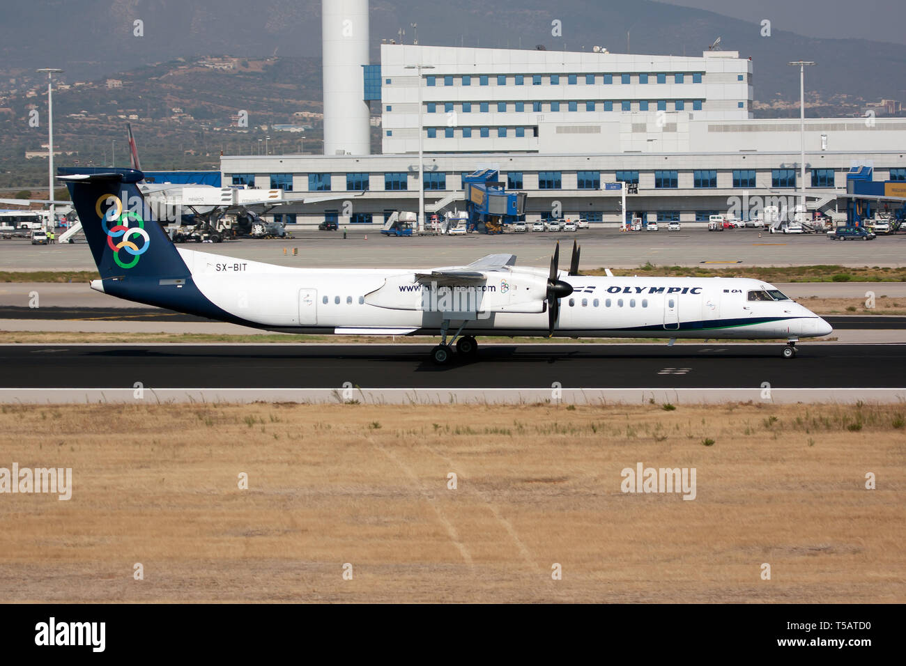 Athens, Greece. 10th Sep, 2016. An Olympic Air Bombardier Dash 8-400 seen departing from the Athens' airport. Credit: Fabrizio Gandolfo/SOPA Images/ZUMA Wire/Alamy Live News - Stock Image