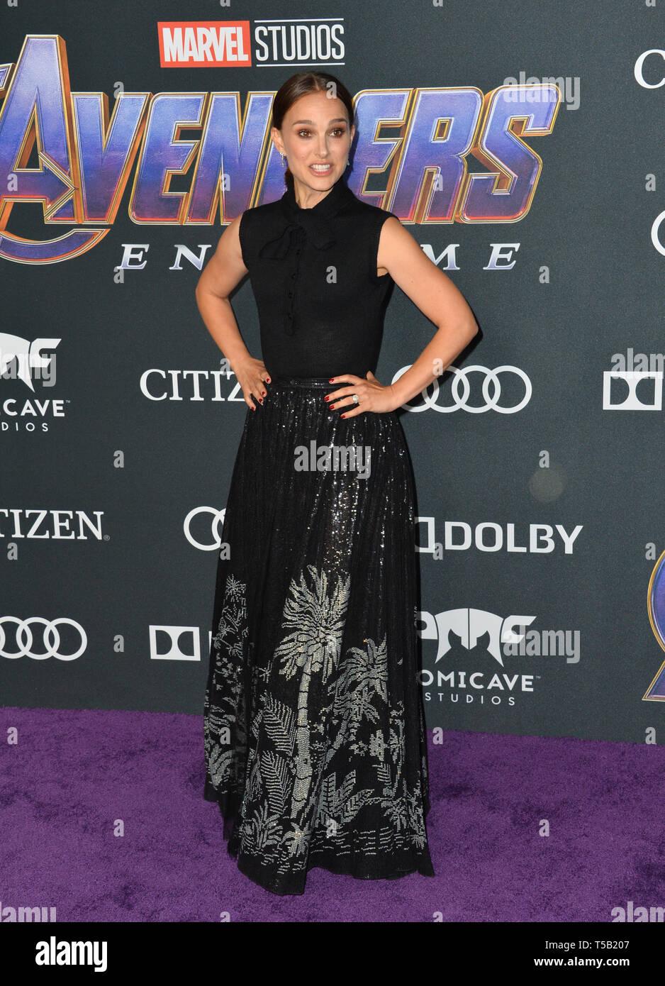 "Los Angeles, USA. 22nd Apr, 2019. LOS ANGELES, USA. April 22, 2019: Natalie Portman at the world premiere of Marvel Studios' ""Avengers: Endgame"". Credit: Paul Smith/Alamy Live News Stock Photo"