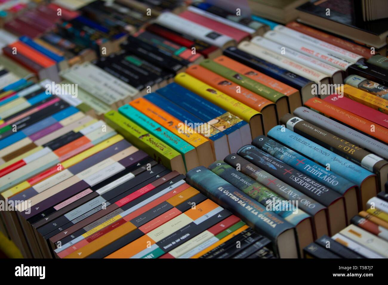 Barcelona, Spain  23rd Apr, 2019  Books are displayed at the