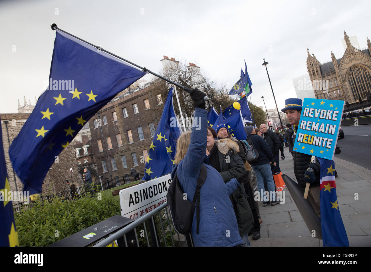 Anti-Brexit campaigners, including 'Mr Stop Brexit', Steve Bray, next to the broadcasters' camp on College Green, Westminster Stock Photo