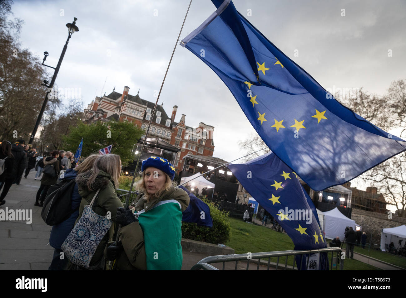 Anti-Brexit campaigners next to the broadcasters' camp on College Green, Westminster Stock Photo