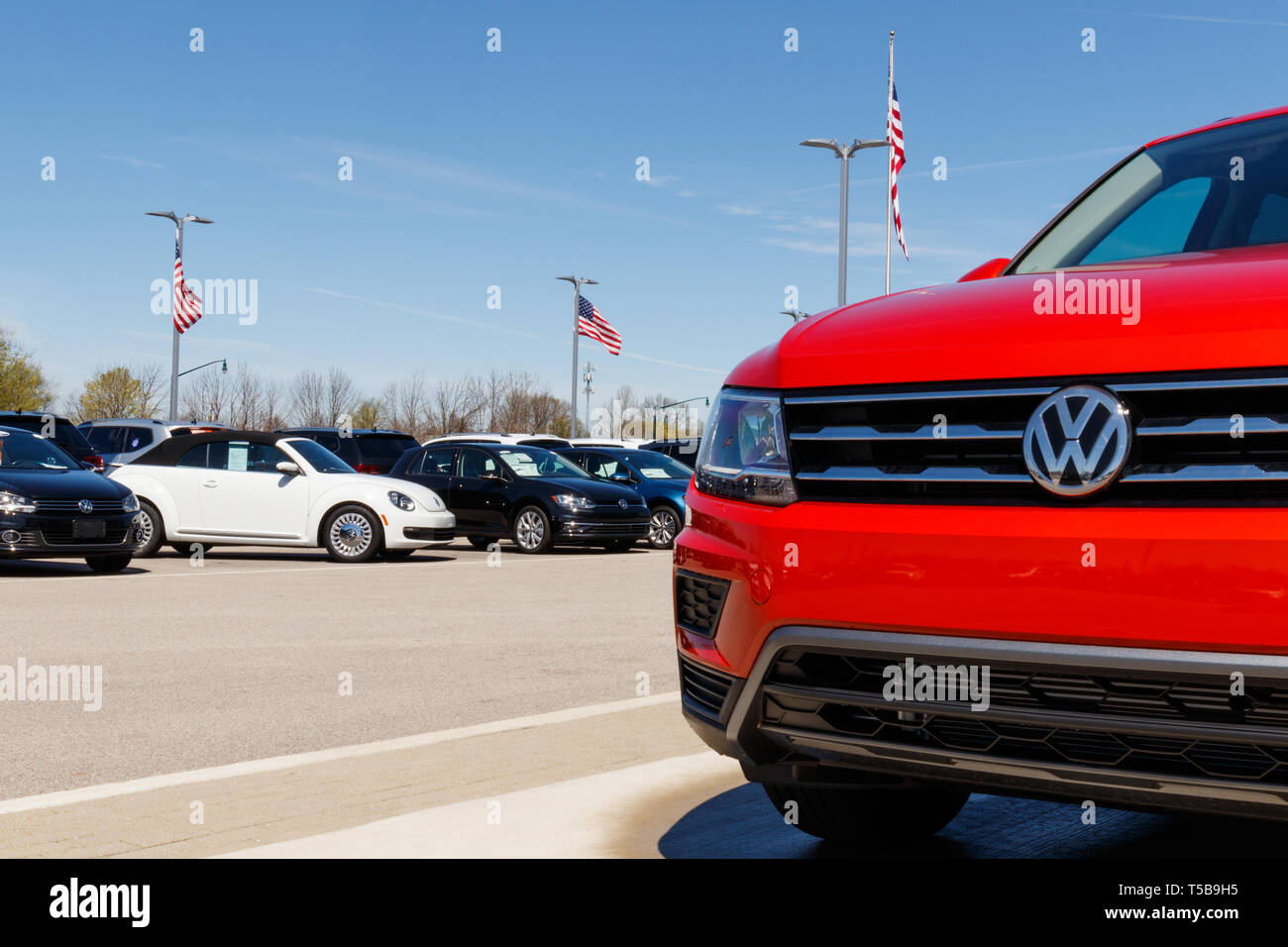 Noblesville - Circa April 2019: Volkswagen Cars and SUV Dealership. VW is Among the World's Largest Car Manufacturers I - Stock Image