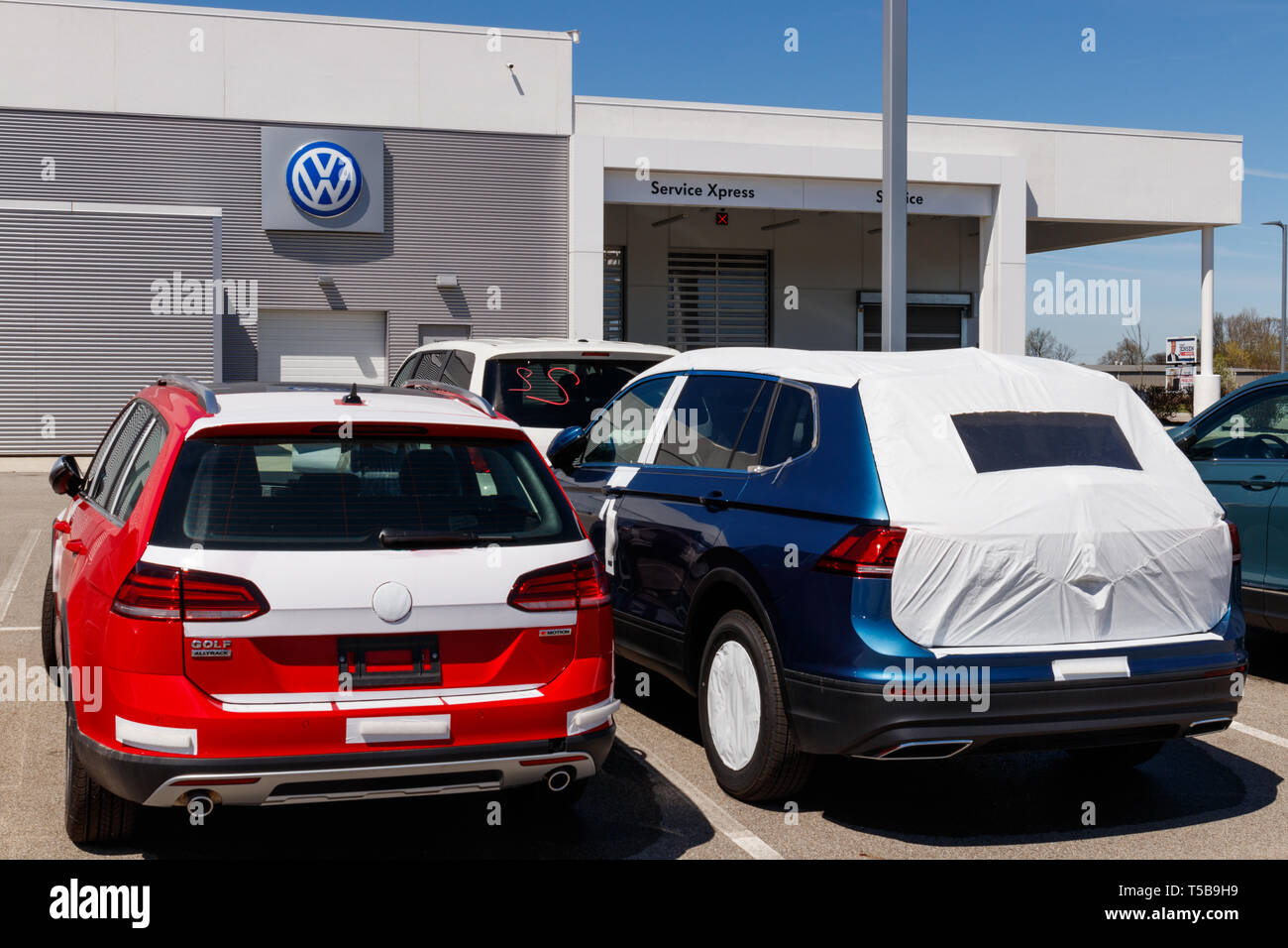 Noblesville - Circa April 2019: Volkswagen Cars and SUV Dealership. VW is Among the World's Largest Car Manufacturers IV - Stock Image
