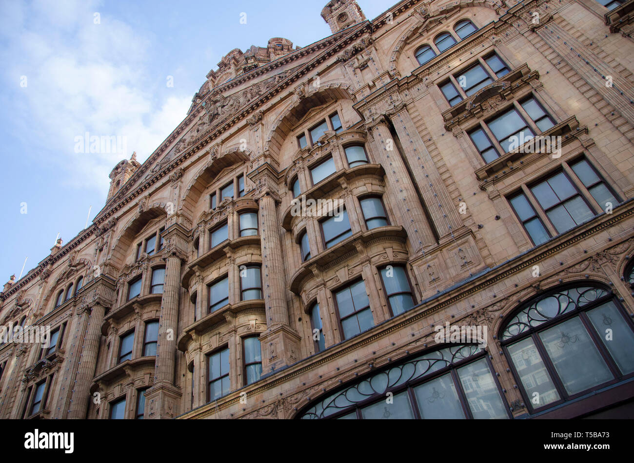 exterior Harrods building shot taken from below - Stock Image