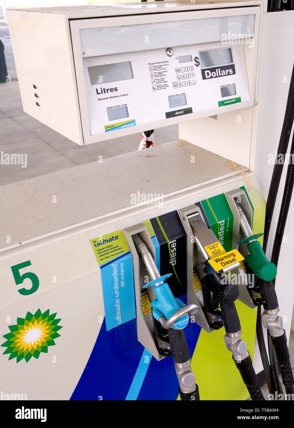 Fuel Station Pumps at BP Service Station on Apollo Drive, Rosedale, Auckland, New Zealand on Saturday 5 May 2007 Stock Photo