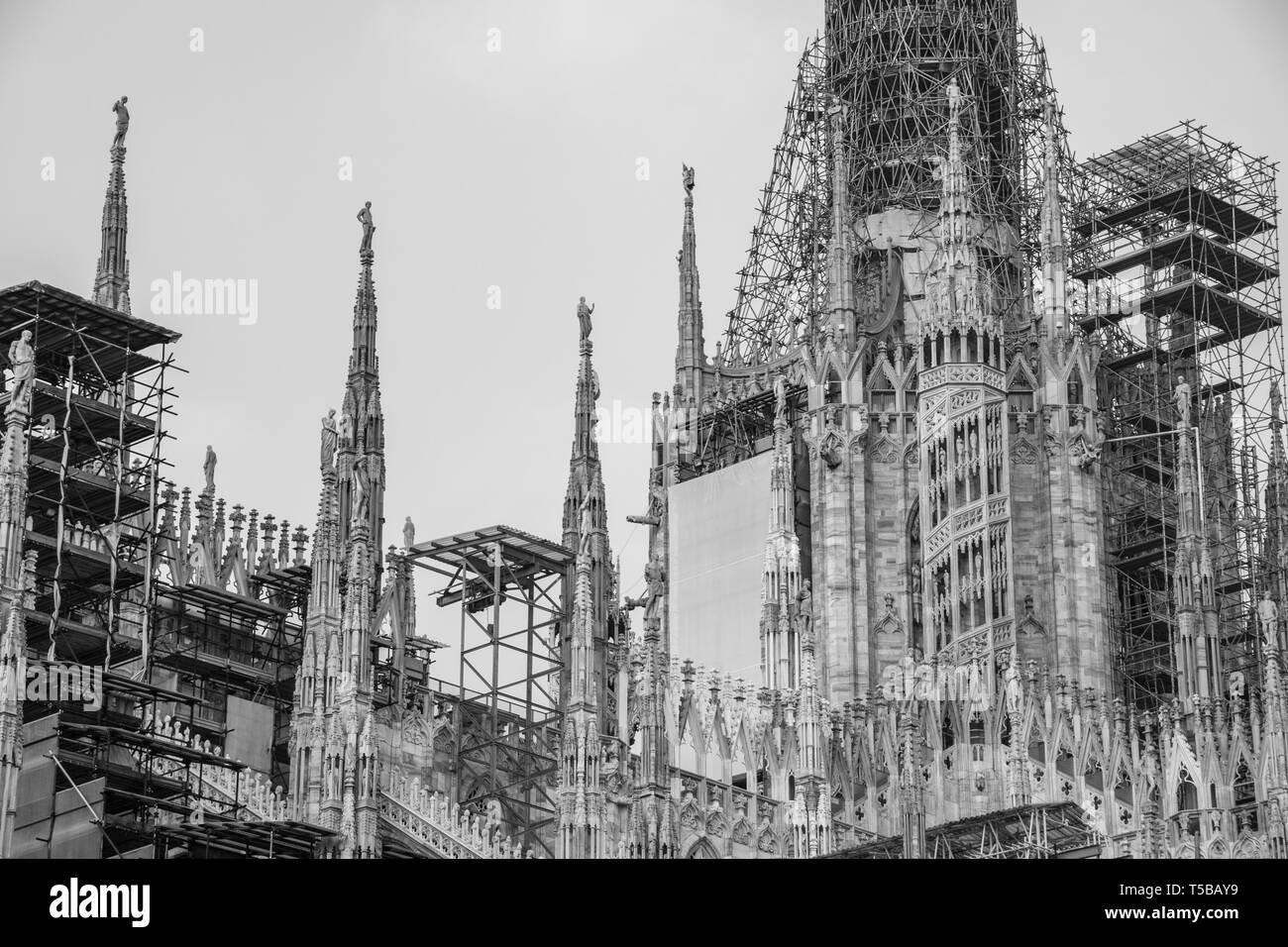 Milan, Italy. Cathedral undergoing renovations - Stock Image
