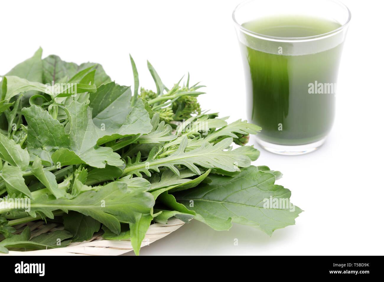 """Glass of green vegetable juice, Vegetable juice called """"aojiru"""" in Japan Stock Photo"""