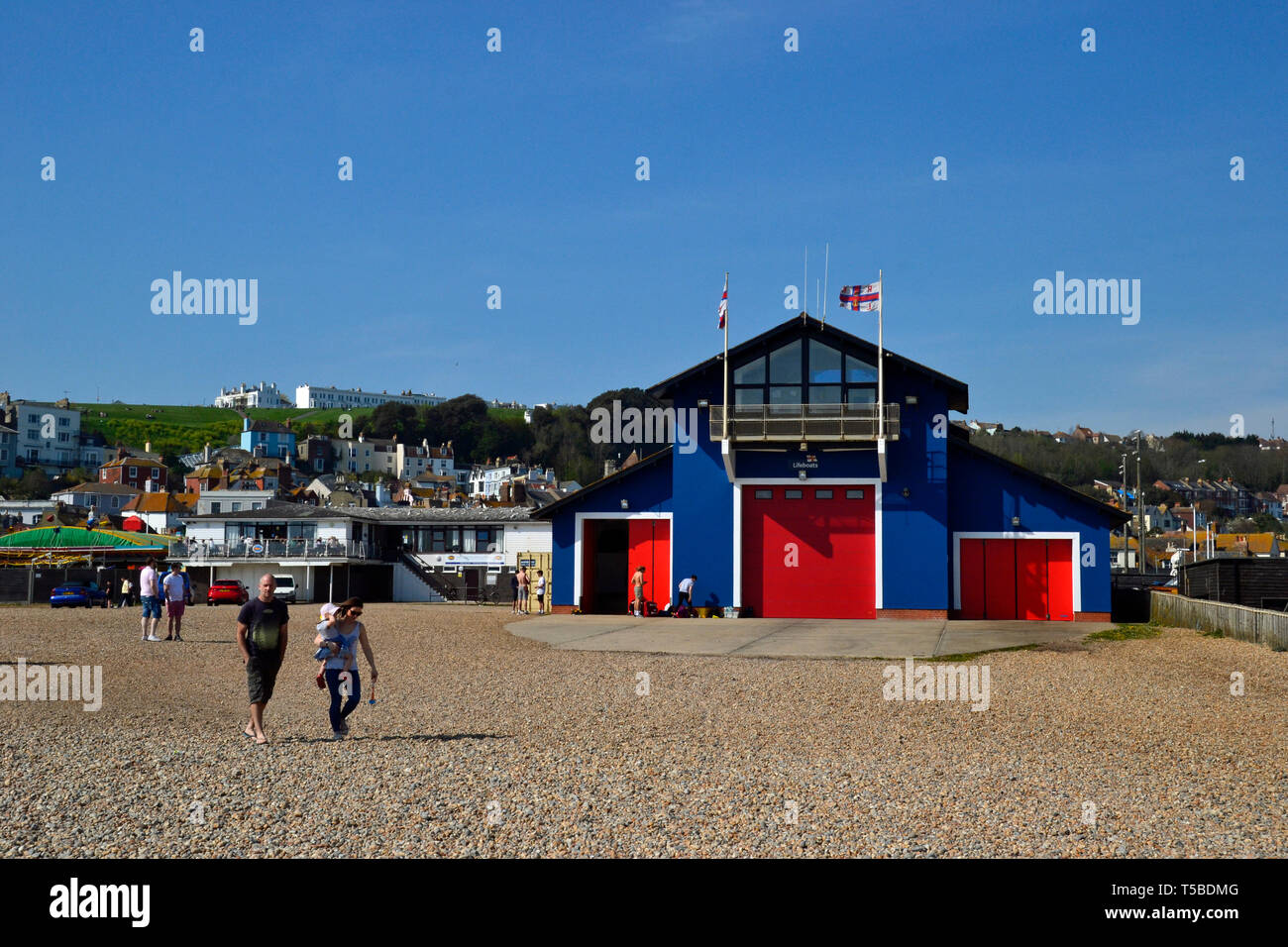 RNLI Lifeboat Station on the beach at Hastings, East Sussex, UK Stock Photo
