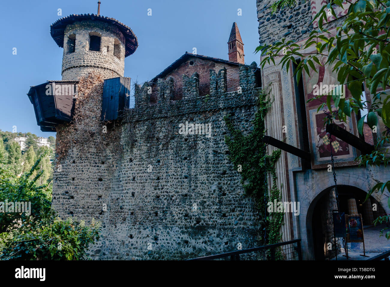 Borgo Medievale, a 19th-century reproduction of a riverside medieval village with houses, workshops, castle & gardens in Turin Stock Photo