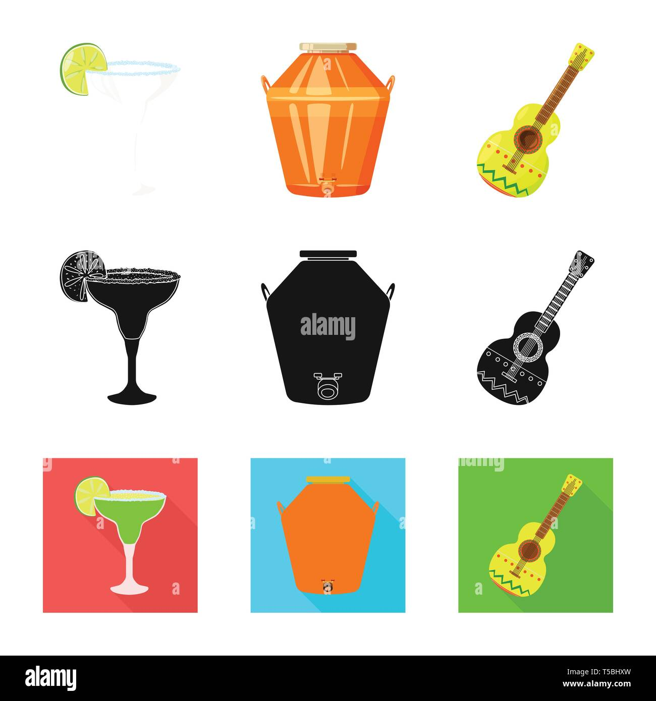 Vector illustration of cafe and Latin symbol. Collection of cafe and national vector icon for stock. - Stock Image