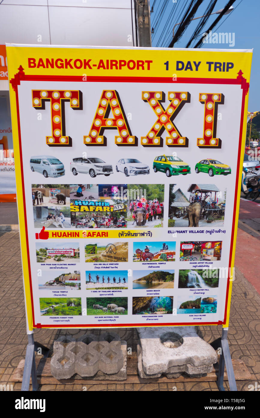 Taxi service sign, with prices and tours, Hua Hin, Thailand