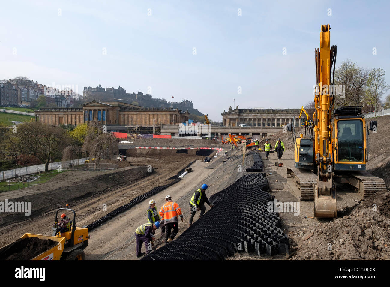 View of construction work in Princes Street Gardens for improvements to the National Galleries of Scotland.Edinburgh, Scotland, UK - Stock Image