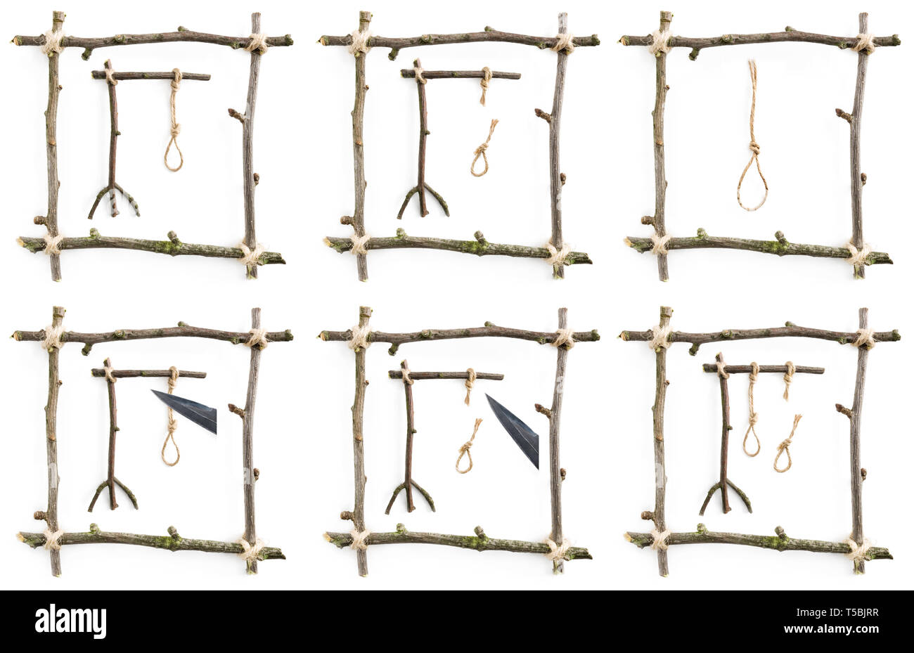 Collection of gallows in twig frame isolated on white background - Stock Image