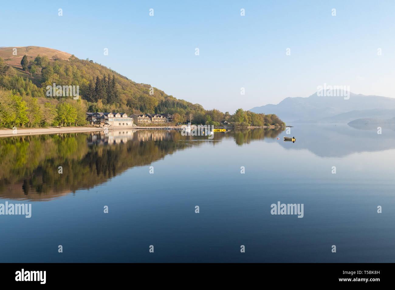 Early spring morning - Luss, Loch Lomond, Scotland, UK - Stock Image