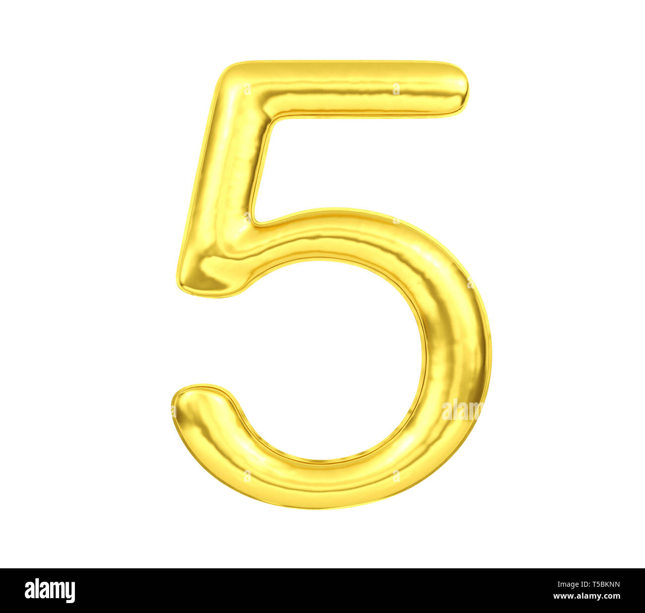 Numeral 5, Golden balloon number five isolated on white background, 3D Rendering - Stock Image