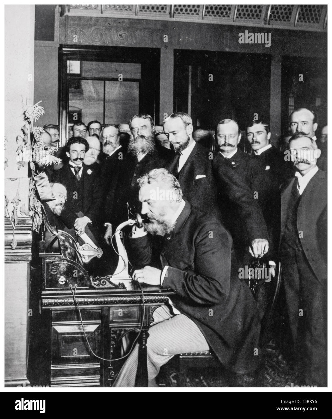 Alexander Graham Bell (1847-1922) at the opening of the long-distance telephone line from New York to Chicago, 1892 Stock Photo