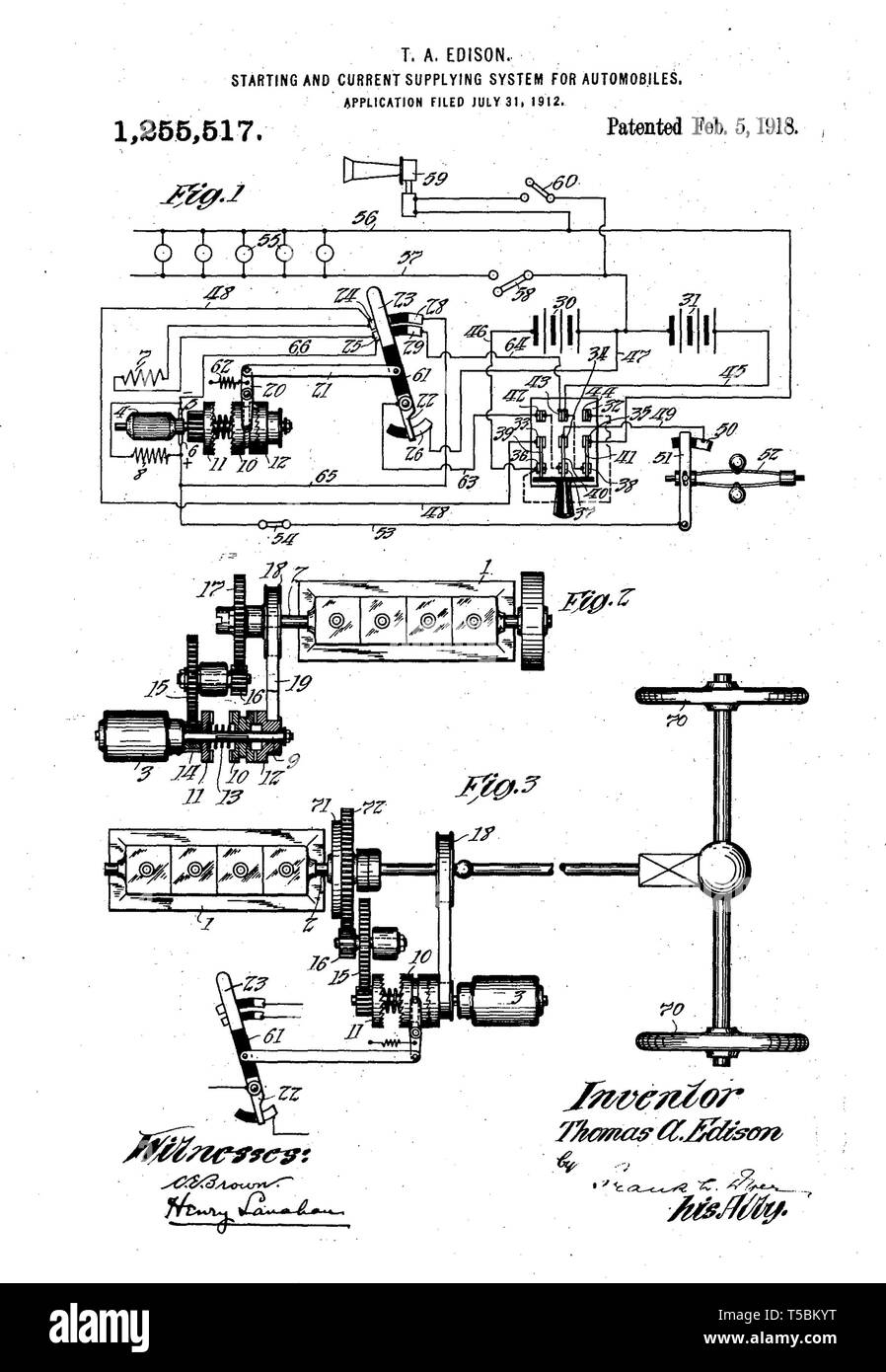 Thomas Edison, automobile starter motor invention, illustration, 1918 - Stock Image