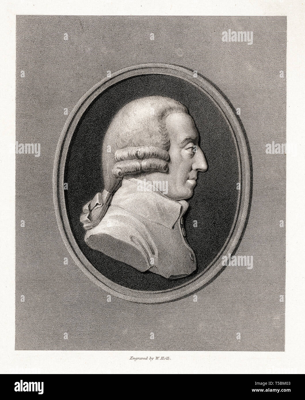 Adam Smith (1723-1790), portrait etching by William Holl, 19th Century, after James Tassie Stock Photo