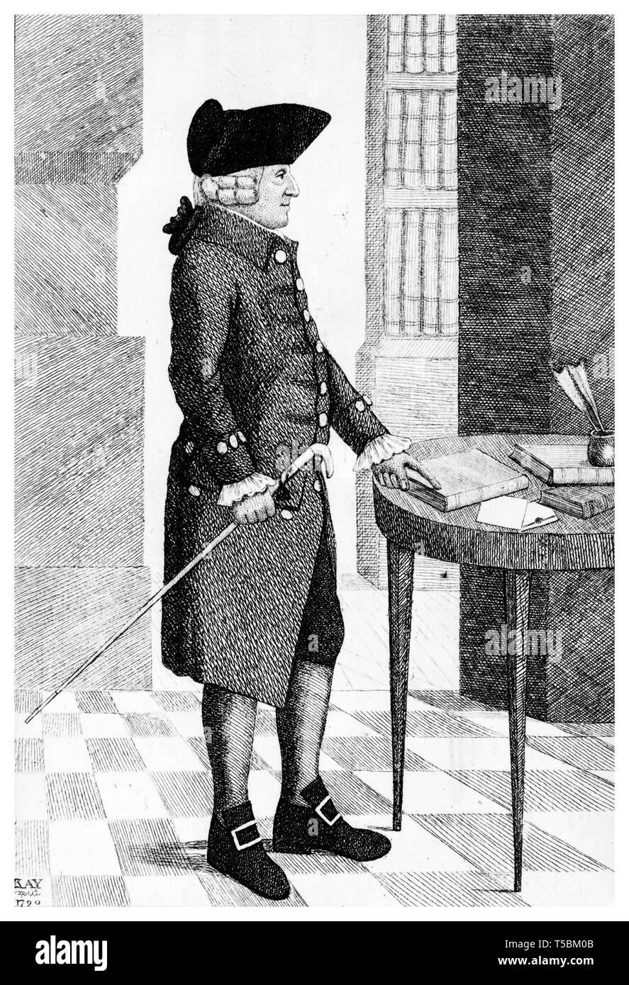 Adam Smith (1723-1790), portrait engraving, 1790 by John Kay Stock Photo